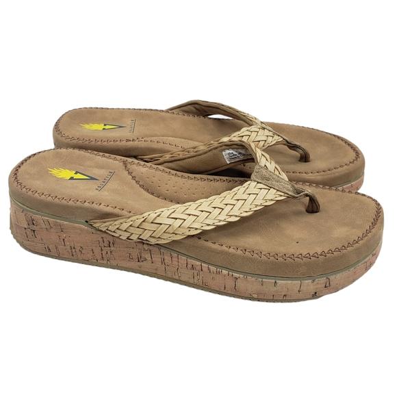 Volatile Gillian Cork Wedge Woven Flip Flop Sandal